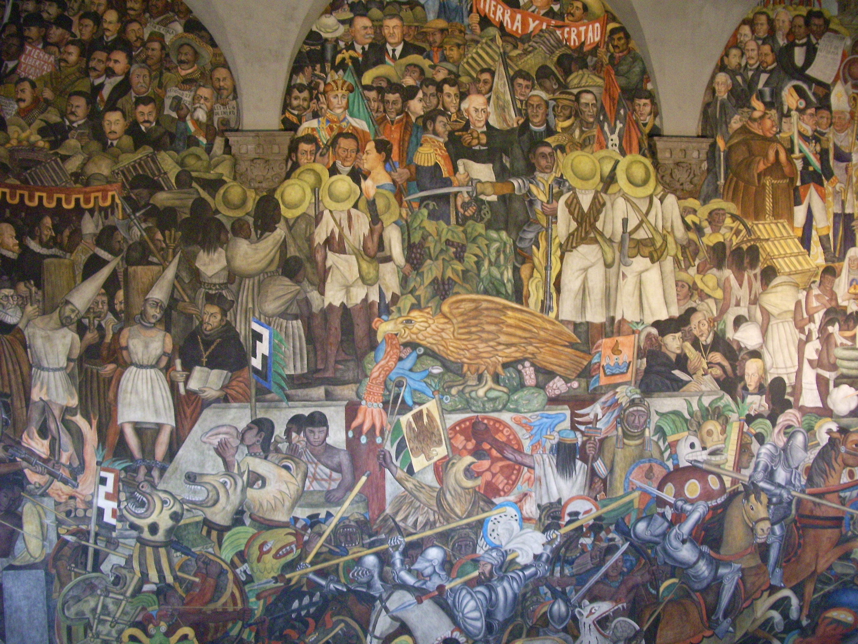 Photo gallery centamerica1 005 mexico city palacio for Diego rivera tenochtitlan mural